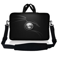 "17.3"" 17.4 Laptop Sleeve Bag Case Pouch Handle & Shoulder Strap Ying Yang Black"