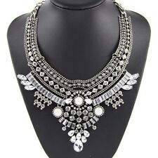 NEW 2015 BEAUTIFUL ZARA DESIGN CLEAR SILVER & PEARL CLUSTER STONES NECKLACE