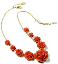 NWT Amrita Singh Coral Red Tea Rose 3D Flower Resin Necklace NKC 1623