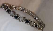 Alwand Vahan 10k white gold dark Blue mystic topaz diamond tennis Bracelet $685
