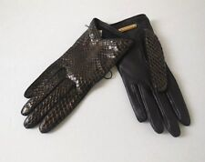 BURBERRY SILK LINED SNAKE SKIN GLOVES, Brown/GOLD, SZ 6.5, NEW, $495