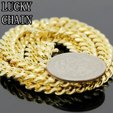 """MEN`S 925 STERLING SILVER MIAMI CUBAN LINK CHAIN GOLD NECKLACE(24""""x6mm)62g/E459"""