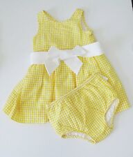 Ralph Lauren Baby Girls V-Back Seersucker Dress Yellow Multi Sz 9M - NWT