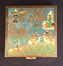 VOLUPTE Brass Compact Persian Gold Enamel Design Cloth Cover Pamphlet