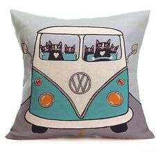 VW Camper Van Travel Square Cushion Cover Pillow Case Home Decor Birthday Gift