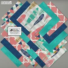 "25~5"" Teal_Blue_Peach Feathers Fabric Squares/Quilt/Craft/Sew/CharmPack #5881"