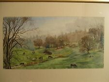 Antique 19thC Primitive Naive Folk Art Watercolor Country Landscape Painting