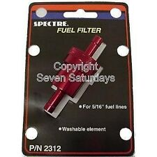 """Spectre Red Billet Aluminum 5/16"""" Fuel Gas Filters Re-Usable Washable Cleanable"""