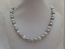 Silver Pearl and Silver Plated Bead Necklace