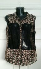 Women's Boho Pink Floral and Lace Panel Blouse Size 16 *New with tags*