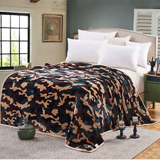 Plush Soft Faux Fur Mink Fleece Blanket Throws Bed Full/Queen Size Camouflage
