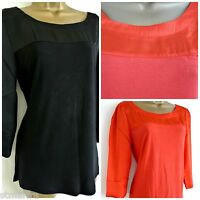 NEW NEXT TOP BLOUSE SHIRT TUNIC SATIN BLACK ORANGE CASUAL 8 10 12 14 16 18 20