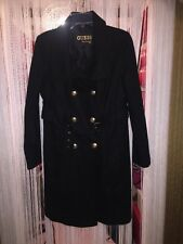 New Woman's Guess Black Wool Coat L Macy's Military Pea coat $250.00