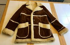Vintage DP Shearling Coat 40 Sheepskin Lamb Leather Suede Jacket Marlboro Ranch