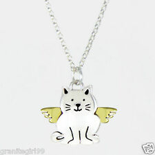 Angel Kitty Cat Charm Pendant 925 Sterling Silver Far Fetched Pet Memorial