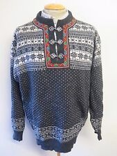 """Traditional Vintage Nordic Norwegian Pattern Clasp Neck Jumper Size XL 46-48"""""""