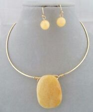 Gold Collar With Yellow Stone Necklace Set Fashion Jewelry NEW