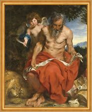 Saint Jerome Anthonis van Dyck anciano Ángel resorte desnudo Bart B a2 00571