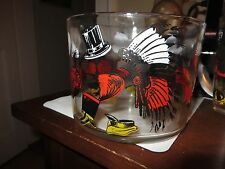 old vintage cocktail bar 6 glasses ice bucket hats graphics hazel atlas