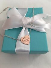 Tiffany & Co Silver & Rubedo Metal Double Chain Heart Tag Necklace RRP $580