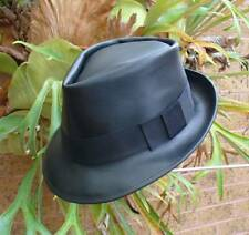 GENUINE BLACK LEATHER HAND CRAFTED FEDORA HAT MENS' & WOMENS'