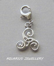 CELTIC  DESIGN CHARM STERLING SILVER  LOBSTER CLAW CLASP FREE GIFT BOX