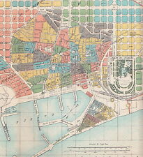 1912 Antique Map of Barcelona, Spain
