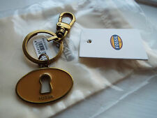 NEW FOSSIL Key Ring keyring with classic key from fossil + cloth bag BNWT