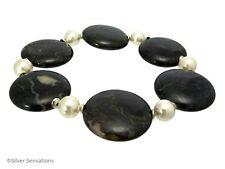 Dark Red Blood Stone Coins, Ivory Cream Shell Pearls & St Silver Chunky Bracelet