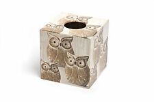 Brown Owl Tissue Box Cover wood Handmade