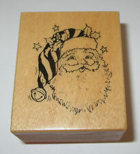 Santa Claus Rubber Stamp PSX Hat Holly Leaves Christmas Jingle Belle C-391