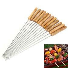 12x Steel Metal BBQ Roast Barbecue Skewer Grill Kebab Needles Stick Wood Handle