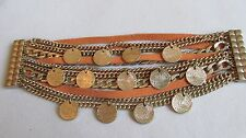 UNUSUAL GOLD TONE BRACELET/12 STRAND/CHAINS/MEDALLIONS/LEATHER/ FREE SHIPPING