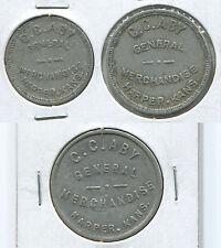 T007c Harper KS Kansas C.C. Aby General Merchandise, 10 + 25 + 50 cent, 3 tokens