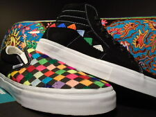VANS CLASSIC SLIP ON SK8 HI XL HUICHOL BLACK WHITE RAINBOW SKATEBOARD DECK DS 10