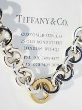Tiffany & Co 18Ct 18K Gold Sterling Silver Circle Link 7.5 Inch Bracelet