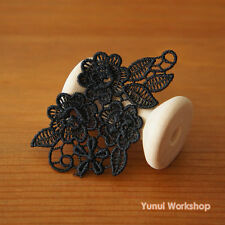 3pcs: Embroidered Black Flowers Lace Applique Vine Leaves Sewing Craft DIY