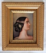 VICTORIAN c1880 MINIATURE PORTRAIT KPM STYLE OIL ON COPPER YOUNG LADY