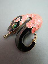 Vintage Snake Brooch Enamel Gold Plated Green Eye Coral Black Colorful Rattle