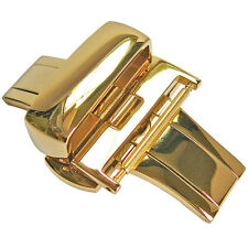 16mm Hadley-Roma BKL100Y Polished Gold Butterfly Deployant Clasp Buckle
