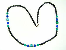 Vintage Facet Black Emerald Green Sapphire Blue Glass Silver Metal Bead Necklace