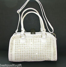 NEW-DS WHITE CROC LEATHERETTE+CRYSTAL STUD+SILVER SATCHEL,PURSE,BAG+CROSSBODY
