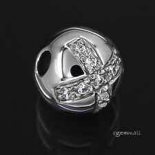 Fine Sterling Silver CZ Cross Round Ball Pendant Spacer Bead 12mm #97754