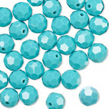 6 Turquoise Swarovski Crystal 5000 Round Crystal Beads 8MM