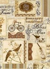 CREAM FRENCH COLLAGE SCRIPT ANTIQUE MUSIC BIRDS VIOLIN FABRIC - HALF YARD