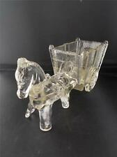 """Vtg 1940s Pressed Depression Clear Glass Horse Donkey Pony & Cart 9"""" MINT Condn"""