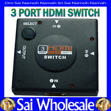 3 Port HDMI Splitter Adaptor w 1080p Output. 3x Inputs, Push-button Switching