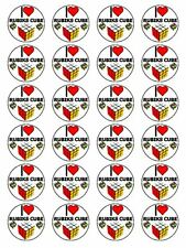 "x24 1.5"" I Love Rubiks Cube Eighties 80s Cupcake Topper On Edible Rice Paper"