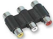Triple 3 x Phono Coupler COMPOSITE AV Video  + RCA Audio Adaptor COLOUR CODED