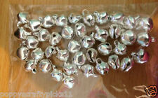 40 TINY SILVER METAL JINGLE BELLS CHRISTMAS CARD MAKING CRAFT EMBELLISHMENTS